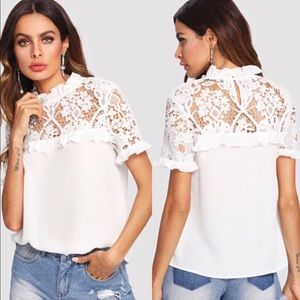 Lace ruffle collared blouse